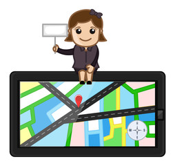 Girl Sitting on GPS Navigator Device