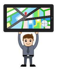 GPS Device Holding in Hands - Cartoon Vector