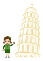 Tower of Pisa Vector Cartoon