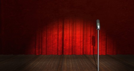 Illustration of Stage Curtain and Microphone on side