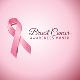 Breast Cancer Awareness Ribbon Background poster