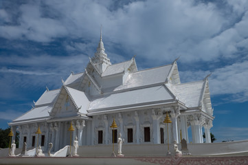 Beautiful white temple and buddha in Thailand