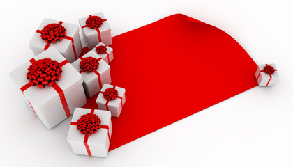 Presents over blank red paper