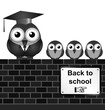 Monochrome comical back to school sign