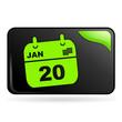 agenda sur bouton web rectangle vert