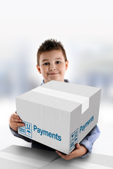 Boy holding a cardboard box on which was written Payments