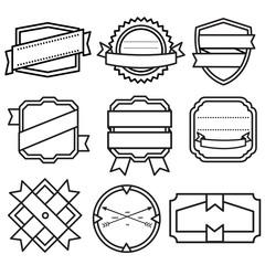 Set of retro vintage badges, ribbons and labels - Illustration