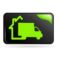 livraison à domicile sur bouton web rectangle vert