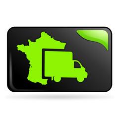livraison en France sur bouton web rectangle vert