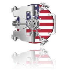 vault safe door with USA flag and reflection