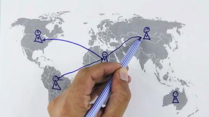 Human hand write social net work on world map