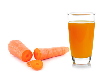 Carrot vegetable juice in glass