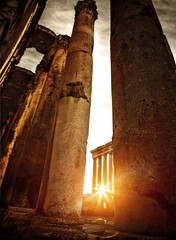 Baalbeck ruins in sunset