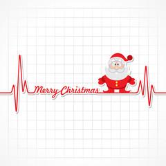 Heartbeat make Merry Christmas text and Santa  stock vector