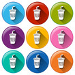 Round buttons with disposable cups