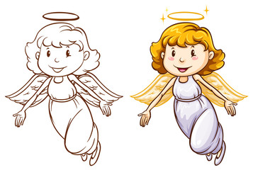 Sketches of angels in different colors
