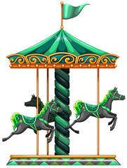 A green carrousel ride