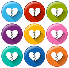 Round buttons with broken hearts