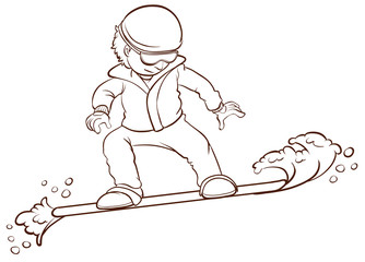 A sketch of a man playing winter sport