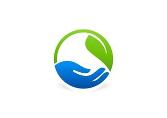 hand plant logo,nature leaf,circle ecology,vegetarian