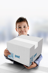 Boy holding a cardboard box on which was written Past