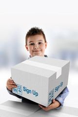 Boy holding a cardboard box on which was written Sign Up