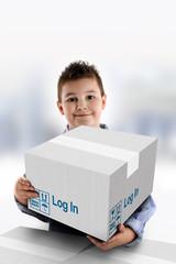 Boy holding a cardboard box on which was written Log In