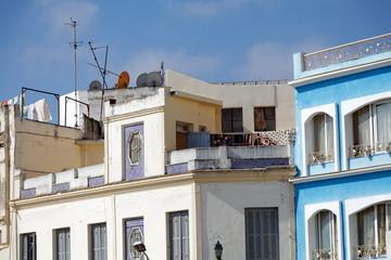 Façades de maisons anciennes, Tanger, Maroc
