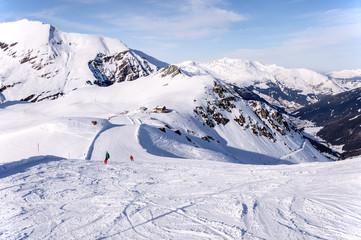 Ski run and hut in Alps