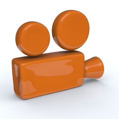 Orange movie camera