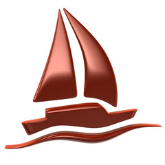 Red sailboat icon