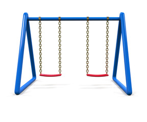 Blue swing isolated on white background