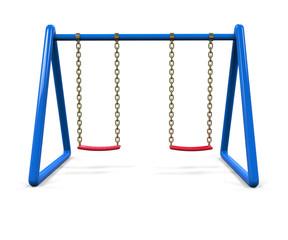 Blue swing isolated on white background