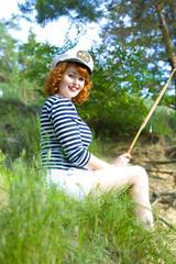 Beautiful pin-up girl sailorly style