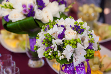 Wedding bouquet of a beautiful roses