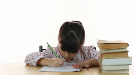 HD Dolly: Cute school girl writing home work