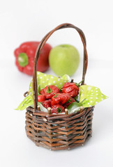 Jamaican red hot peppers in a basket