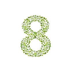 Spring green leaves. eco number 8