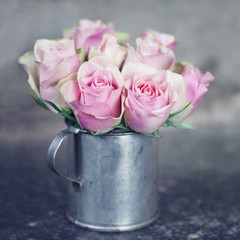 Pink roses in a metal cup1