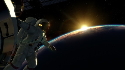 Space walking astronaut views orbital sunrise from space station