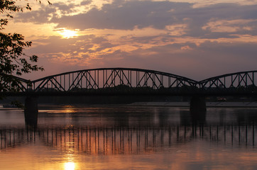 Marshall Pilsudski Bridge over Vistula river (Torun, Poland)