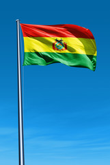 Bolivia flag waving on the wind