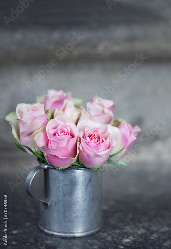 Pink roses in a metal cup2