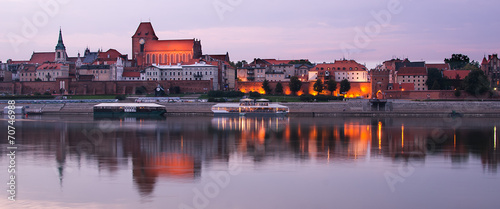 Old town of Torun (Poland) in the sunset.View from Vistula river
