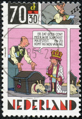 stamp shows Strip Cartoons -The king and money chest