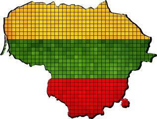 Grunge Lithuania flag and map