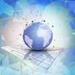 Globe world on the chart. Abstract vector illustration