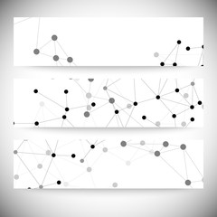 Set of horizontal banners. Molecule structure, gray background
