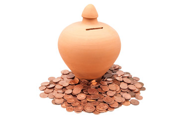 hucha con monedas