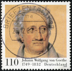 stamp printed in Germany shows Johann Wolfgang von Goethe